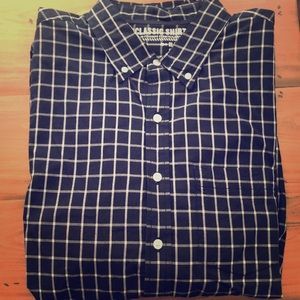 Old Navy- Plaid- Navy Blue- Button Down- XL